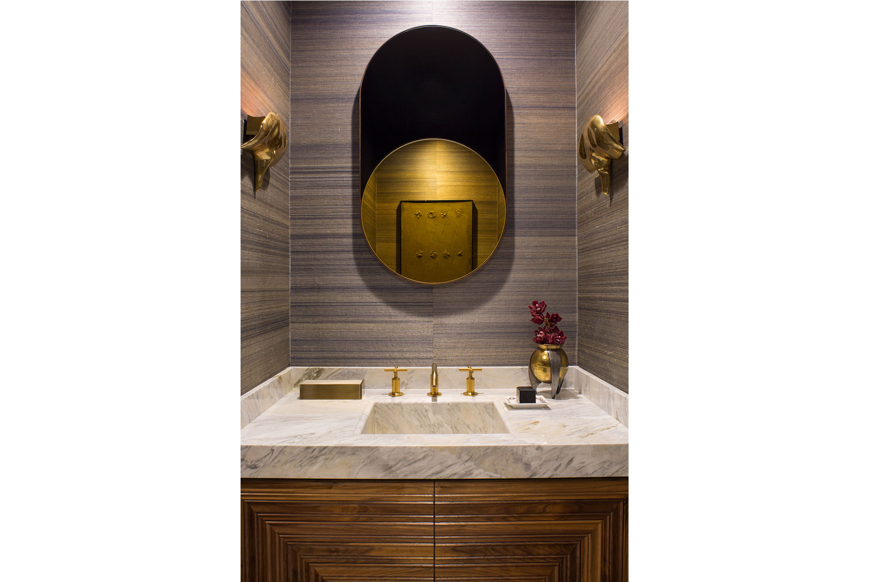 Interior Designer Los Angeles Detailed Wood Vanity Doors Marble Sink Brass Sconces Brass Mirror Powder Room Bathroom Design