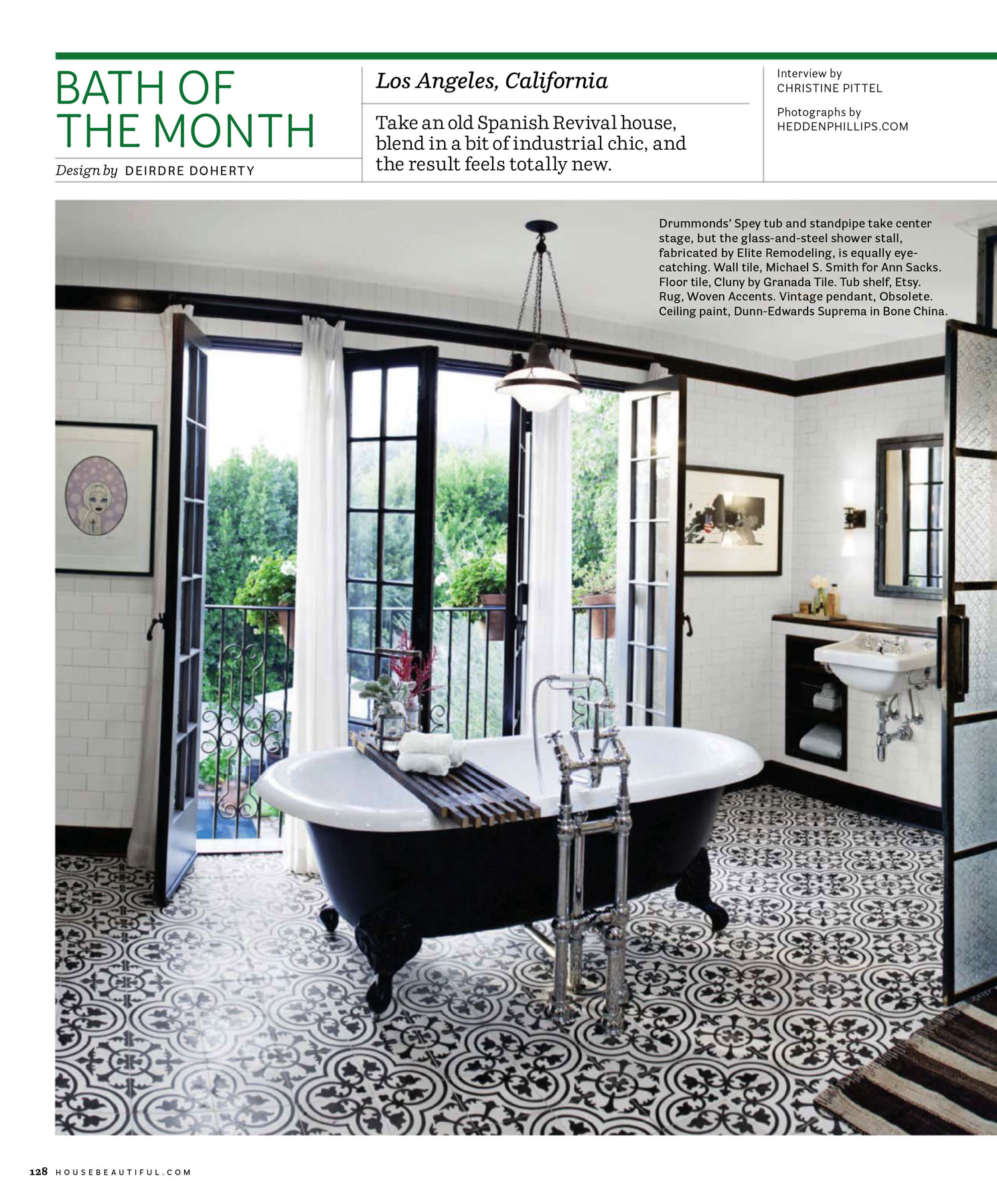 Published Interior Designer Los Angeles Black & White Bathroom Tile Floor Clawfoot Tub French Windows Wall Tile Chandelier