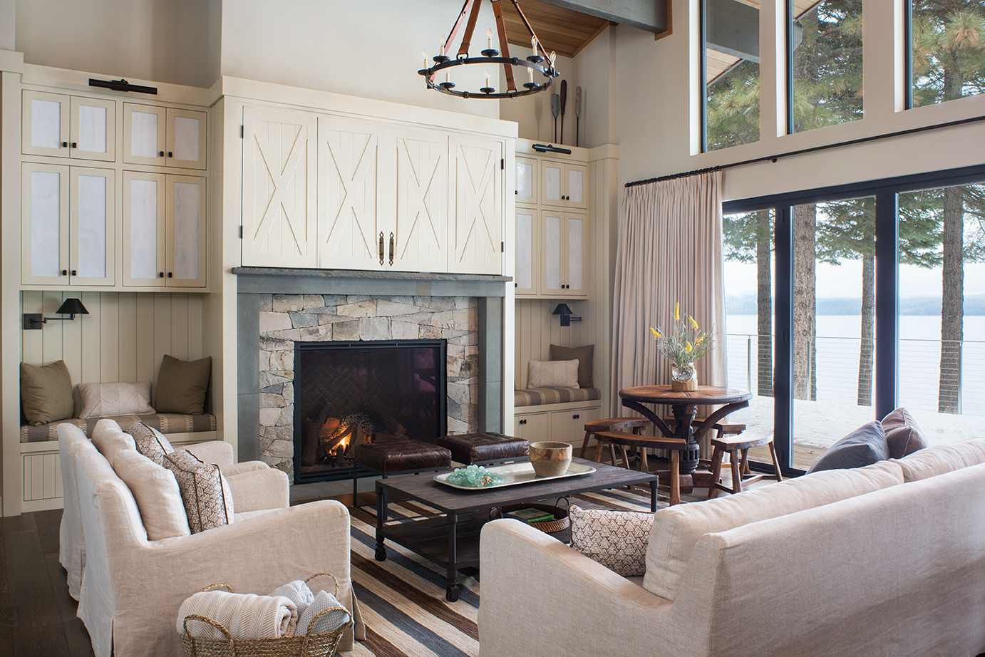 Living room revamp with fireplace. Chandelier, refaced cabinets. Redondo Beach.